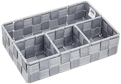 WENKO Aufbewahrungskorb Adria Klein - Badorganizer, 26 x 6,5 x 17 cm, grau