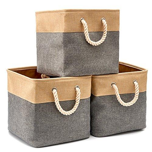EZOWare Faltbare Aufbewahrungsbox in Würfel Lagerung Korb Schrank Würfel Aufbewahrungskörbe mit Griffen (33 x 33 x 33 cm) für Spielzeug, Büro, Schrank,...