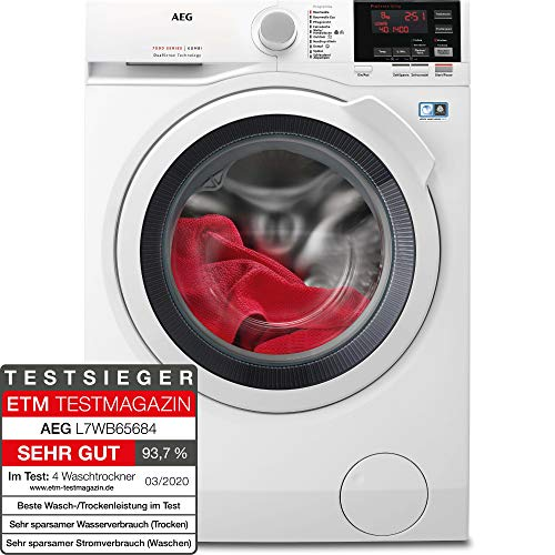 AEG L7WB65684 Waschtrockner / DualSense - schonende Pflege / 8,0 kg Waschen / 4,0 kg Trocknen / Energiesparend / Mengenautomatik / ProSteam - Auffrischfunktion...