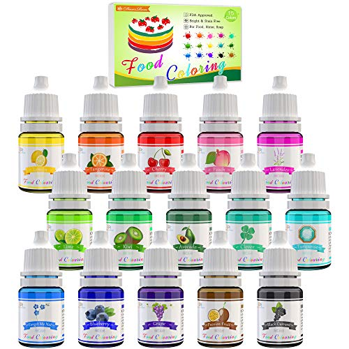 Lebensmittelfarbe - 15 Flüssige Lebensmittel Farben Set für Kuchen Backen, Kekse, Macaron - Hochkonzentrierte Food Coloring für Kuchendekoration, DIY Slime,...
