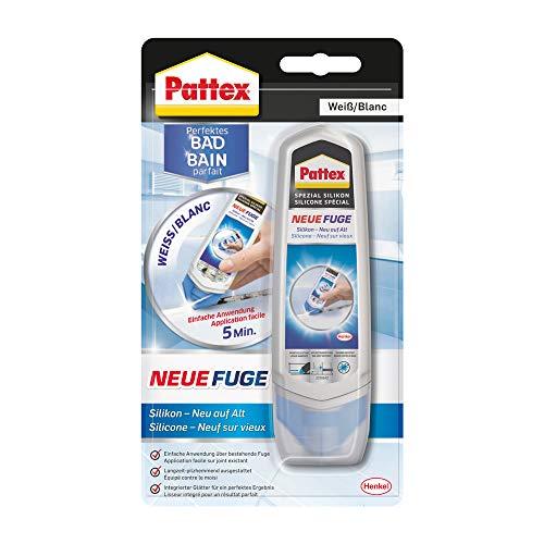 Pattex Perfektes Bad Neue Fuge, Silikon Dichtmasse für neue Fugen in nur einem Schritt, Fugenweiß zum Schutz vor Schimmel, Fugensanierung Komplett-Set, 1 x...