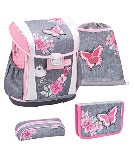 Belmil Ergonomischer Schulranzen Set 4 - teilig Größen verstellbar Mädchen 1. 2. 3. 4. klasse - gepolsterter Hüftgurt und Brustgurt/Schmetterling,...