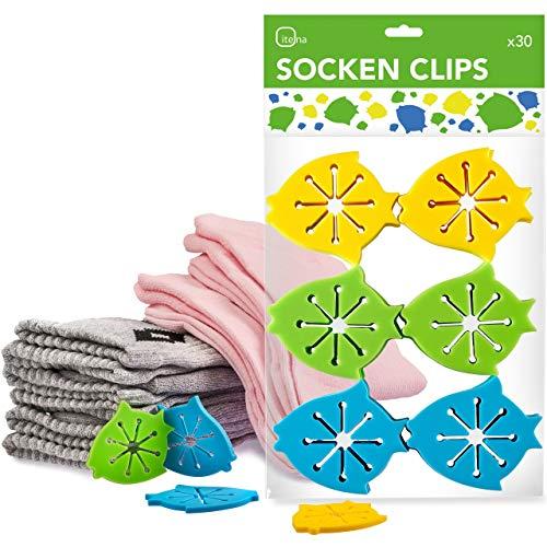 itena® Sockenclips (30 Stück) für Waschmaschine und Trockner I Socken-Klammern mit einfacher Anbringung I Sockensortierer aus flexiblem Silikon