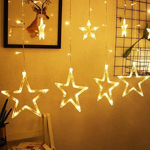 LED Lichtervorhang, Kaliwa Batteriebetriebe Lichterkette 138 LEDs Weihnachts Lichter mit 12 Sterne und LED Kugels, 2 Modi, IP44 Wasserdicht, ideal für...