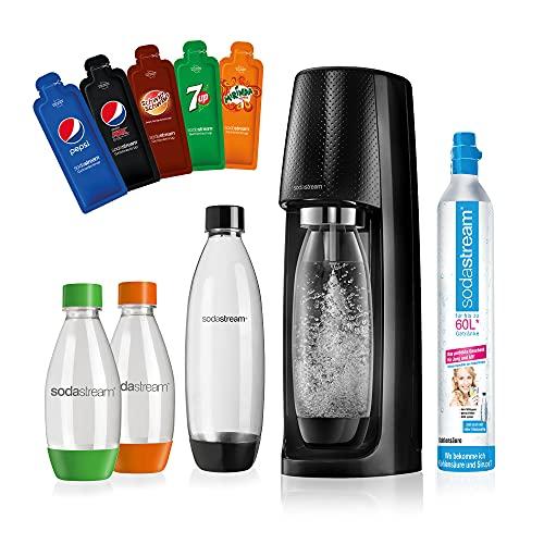 SodaStream Easy Wassersprudler-Set Vorteilspack PEPSI mit CO2- Zylinder, 2x 1 L PET-Flasche, 2x 0.5 L PET-Flasche, 5x Pepsi Sirupproben, schwarz