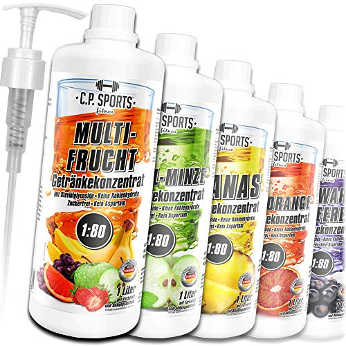 C.P. Sports Konzentrat zuckerfrei 1:80 (ca. 80 Liter Fertiggetränk) + Dosierpumpe – Getränkekonzentrat Getränkesirup Fitness Sport Getränk – L-Carnitin...