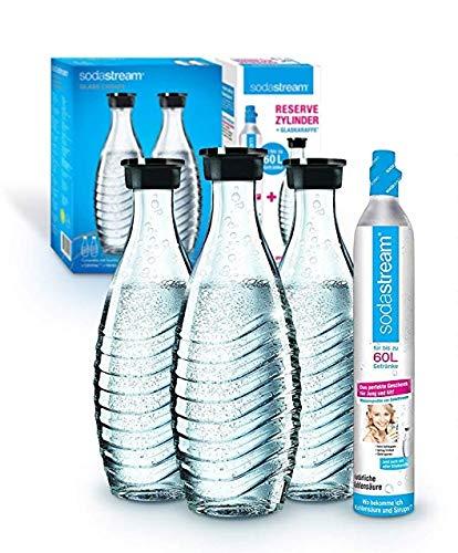 Soda Stream Reservepack Promopack Zylinder mit Glaskaraffen (1 x CO2-Zylinder für 60L und 3 x 0,6L Glaskaraffe, für Crystal und Penguin Wassersprudler,...