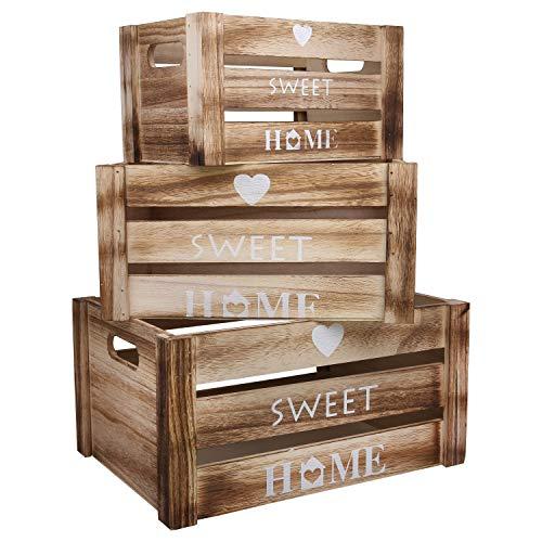 Holz Aufbewahrungsbox - 3-er Set Holzkisten, Obstkisten Aufbewahrungskiste mit Griffen und Herz Sweet Home Design - Vintage Kisten, Weinkiste, Holzbox für...