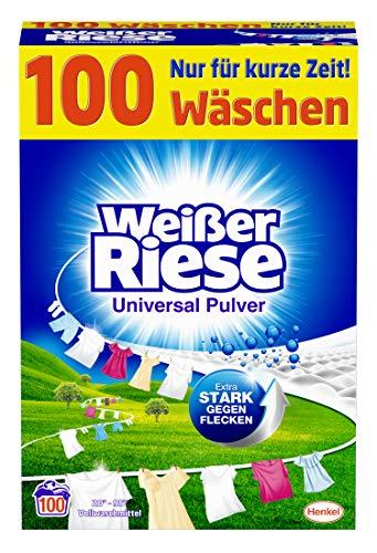 Weißer Riese Universal Pulver (100 Waschladungen), Vollwaschmittel extra stark gegen Flecken, ergiebiges Waschpulver, ideal für Familien mit Kindern