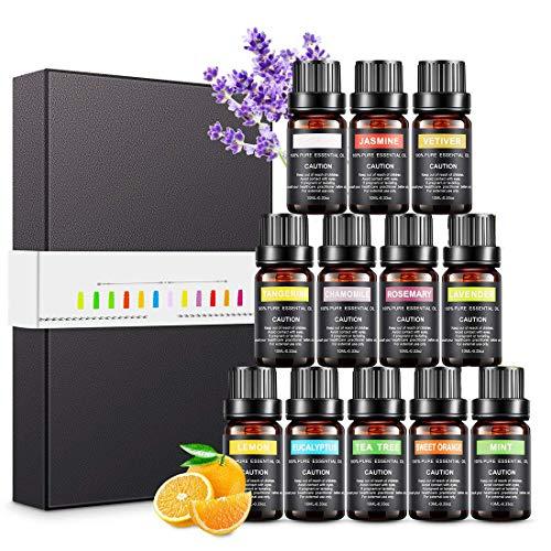 Magicfun Ätherische Öle Set, Aromatherapieöle Geschenkset 12 Stück 10 ml, 100% Reine Natürliche Duftöle für Diffusoren(Teebaum, Lavendel, Zitrone,...