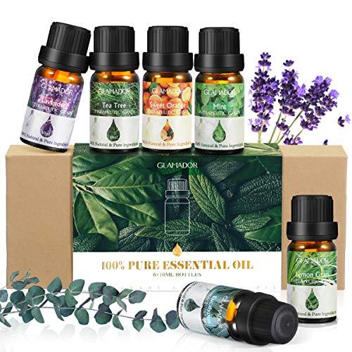 Ätherisches Öl, GLAMADOR Ätherische Öle Set, Essential Oil für Aromatherapie, 100% Rein Öle für Aroma Diffuser, Lavendel, Zitronengras, Teebaum, Minze,...