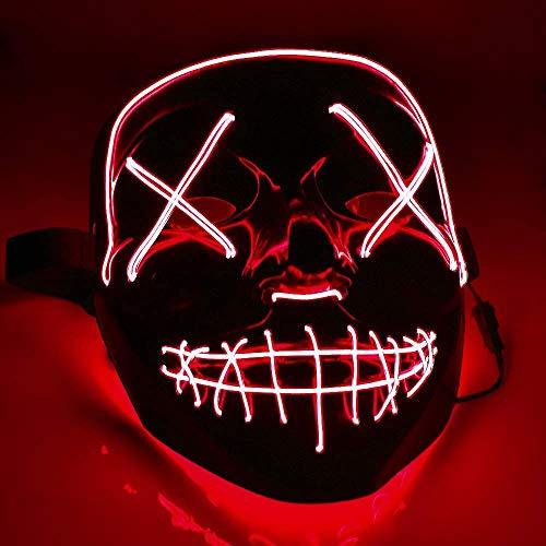 TK Gruppe Timo Klingler LED Grusel Maske rot - wie aus Purge steuerbar, für Halloween, Fasching & Karneval als Kostüm für Herren & Damen (rot)