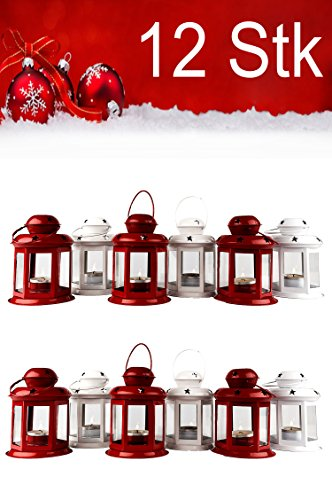 12er Set Windlicht Laterne Weihnachten Kleine Laternen Für Draußen Metall Glas Windlichter Weihnachtsdeko Beleuchtung Dekoration