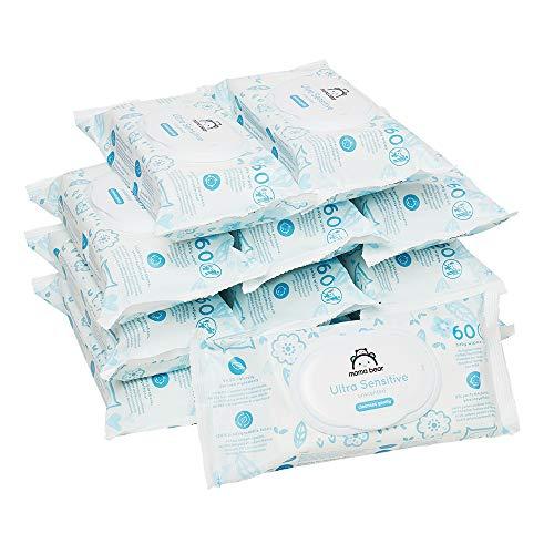 Amazon-Marke: Mama Bear Ultra Sensitive Baby Feuchttücher - 12er Packung (720 Tücher- 100% biologisch abbaubar)