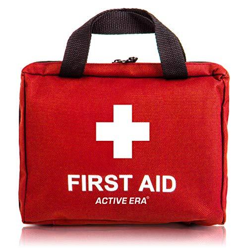 Erste Hilfe Set - 90-teiliges Premium Erste-Hilfe-Set - enthält Sofort Kühlpacks, Augenspülung, Rettungsdecke für zu Hause, Büro oder Auto - Rot