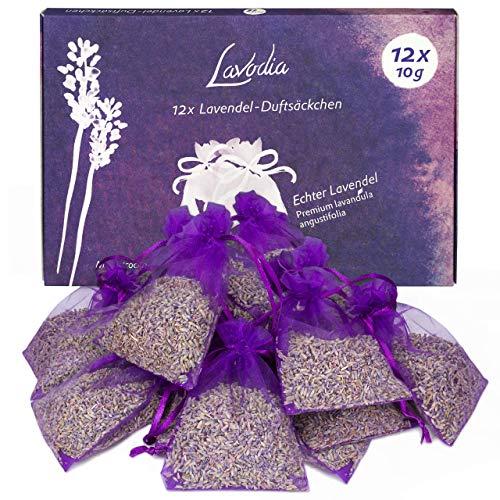 LAVODIA 12x Lavendelsäckchen mit Lavendelblüten, Mottenschutz gegen Motten im Kleiderschrank oder als Lavendel Duftsäckchen zum Entspannen und Schlafen, 120g...