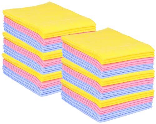 com-four® 60x Haushaltstücher, extrem saugfähige, strapazierbare Allzweck-Wischtücher aus Viskose, wiederverwendbar (Set 1 - Putztücher 60 Stück)