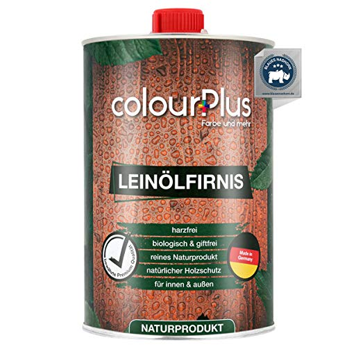 colourPlus® biologisches Leinölfirnis (1 Liter, seidenglänzend) schützendes Holz ÖL für Innen und Außen - pflegendes Holzöl aussen - Made in Germany