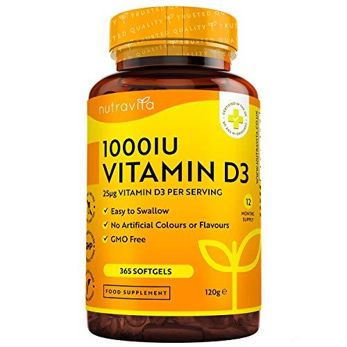 Vitamin D 1000 IU (25μg) - 365 VITAMIN D Weichgelkapselnganzer Jahresbedarf Erhaltung eines gesunden Immunsystems, gesunder Muskeln, Knochen und Zähne -...