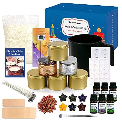 YRYM HT Kerzenherstellung Kit,DIY Kerzenherstellung Zubehör,DIY Duftkerze Geschenke Set mit Soja Waxs,Kerzendochte,Duftöl,Kerzendosen,Thermometer und Mehr