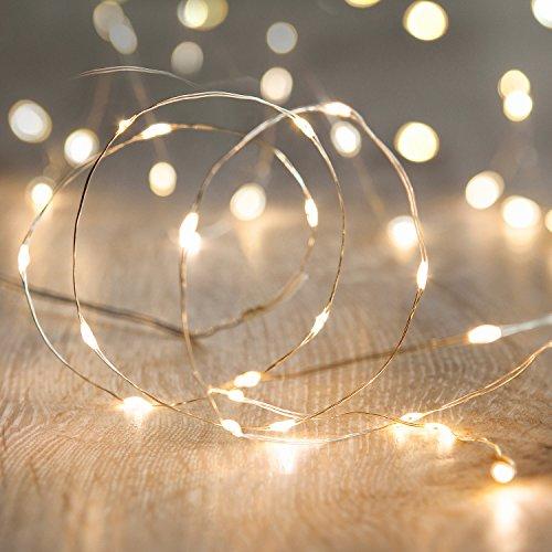 Lights4fun 20er LED Draht Micro Lichterkette perlweiß Batteriebetrieb