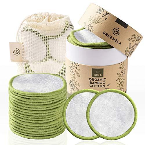 Greenzla Abschminkpads Waschbar (20 Stück) mit waschbarem Wäschesack und runder Box zur Aufbewahrung | 100% Organische Bambus & Baumwoll | Wiederverwendbare...