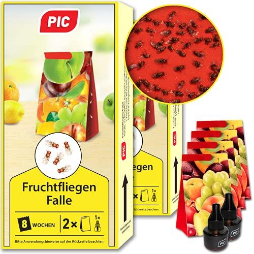 PIC - Fruchtfliegen-Falle, Obstfliegenfalle und Essigfliegenfalle - 2 Lockstoffbehälter mit 4 Leimfallen für extra Lange Wirkung - Mittel um Fruchtfliegen zu...