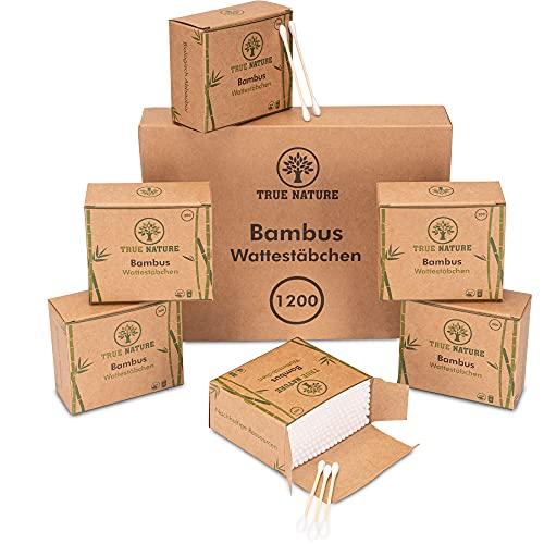 TRUE NATURE® [1200] Bambus Wattestäbchen - Dermatologisch zertifiziert - Plastikfreie Ohrenstäbchen - Q Tips ohne Plastik - Cotton Buds - 100% biologisch...