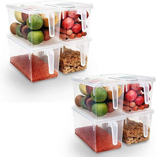 Kurtzy Set aus 8 Kunststoff Küchen Vorratsdosen mit Deckel - stapelbare Kühlschrank und Kühltruhe Organisations - Frischhaltedosen behälter für...