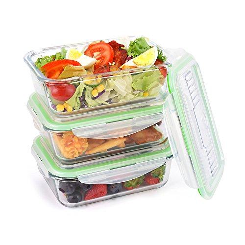 Symbom Lebensmittelbehälter aus Glas 3 Set 1050 ml - Hochwertige und luftdichte Glasschalen BPA-frei - Frischhaltedosen Vorratsdosen mit Smart Lock Deckel -...