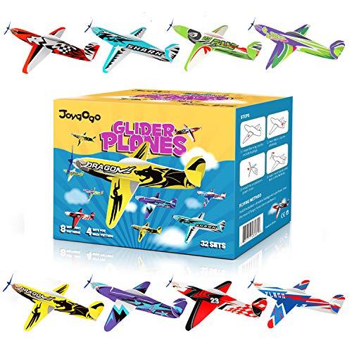 Joygogo 32 Stück Gleitflugzeuge, 8 Verschiedene Styroporflieger, Spielen für Kinder, Mitgebsel Kindergeburtstag, Kindergeburtstag Gastgeschenke