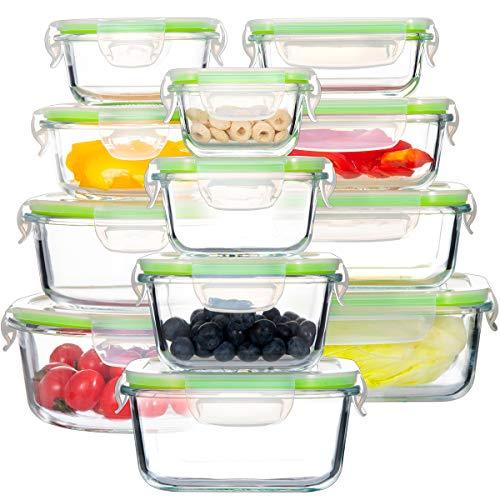 GENICOOK Glas-FrischhaltedosenSet-Glasbehälter/Brotdose/vorratdose/Aufbewahrungsbehälter - BPA frei und LFGB-zugelassen für Home Küche oder Restaurant...