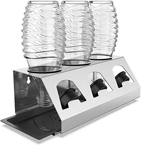 SodaClean® Premium Abtropfhalter aus Edelstahl mit Abtropfwanne - für SodaStream und Emil Flaschen | spülmaschinenfest Abtropfständer Abtropfgestell inkl....