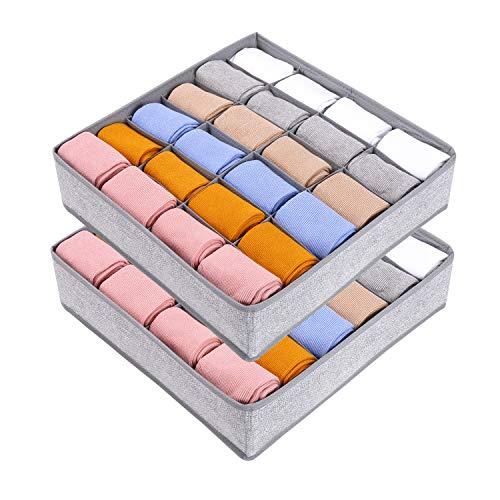 Joyoldelf 2 Stück Aufbewahrungsboxen für Socken und Unterwäsche, 24 Zellen Faltbare Boxen (Faltbox, Drawer dividers, Schubladen-Organizer Stoffboxen zum...