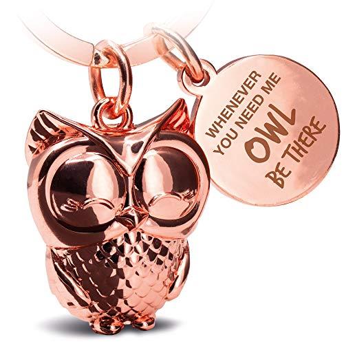 FABACH Eule Schlüsselanhänger Owly mit Gravur - Süßer Schlüsselanhänger Eule - Freundschaft und Liebe Glücksbringer aus Metall für Frauen in Rosegold -...