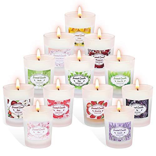 SUPERSUN Duftkerzen Geschenkset Weihnachten im Glas,12 Stück Aroma Kerzen Geschenkset Frauen,Natürliches Sojawachs Kerze Weihnachts Duftkerze,Je 10-12 Std...