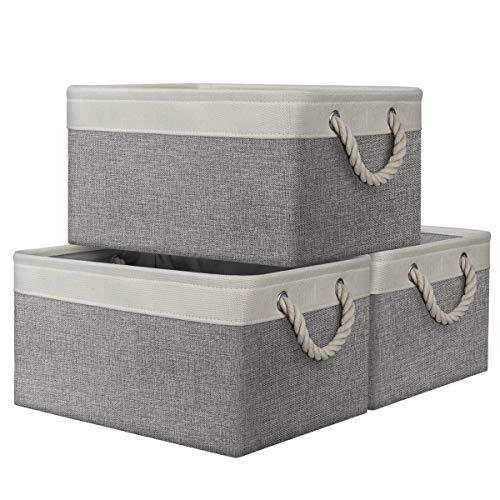 AivaToba Aufbewahrungskorb Faltbare Aufbewahrungsboxen Stoff mit Henkel, Dickwandige Aufbewahrungsbehälter aus Leinen für Kleidung Spielzeug Schlafzimmer...