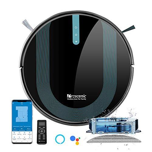 Proscenic 850T WLAN Saugroboter, Staubsauger Roboter, Alexa & Google Home & Appsteuerung, Saugroboter mit Wischfunktion, 3000Pa Saugleistung auf Teppichen und...