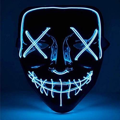 TK Gruppe Timo Klingler LED Grusel Maske blau - wie aus Purge mit 3X Lichteffekten, steuerbar, für Halloween, Fasching & Karneval als Kostüm für Herren &...