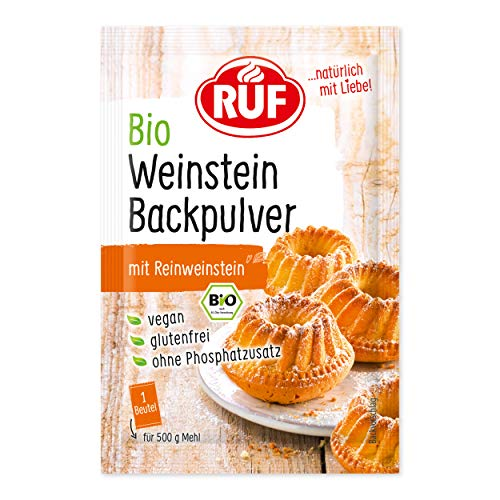 RUF Bio Weinstein Backpulver Glutenfrei ohne Phosphatzusatz (3 x 20g)