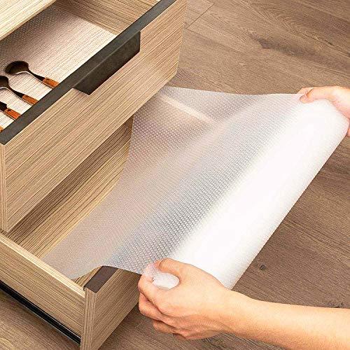 KINLO Schubladenmatte Rutschfeste 45x200cm Antirutschmatte Schrankpapier Schubladeneinlage Wasserfest Matte Nicht Klebende EVA Regalschrank für Regale...