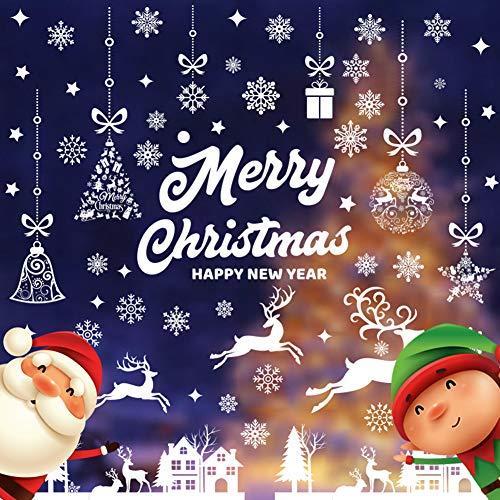 CHEPL Fensterbilder Weihnachten Schneeflocken Aufkleber Weihnachten Fensteraufkleber PVC Selbstklebend für Weihnachts und Winter Dekoration (9 Blatt)