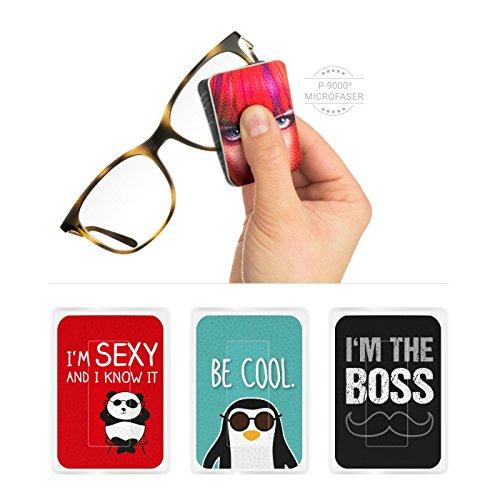 POLYCLEAN 3X PocketCleaner® Brillenreiniger – Praktisches Brillenputztuch und Display Reinigungstuch – Microfasertuch Made in Germany (12x4 cm, 3 Stück,...
