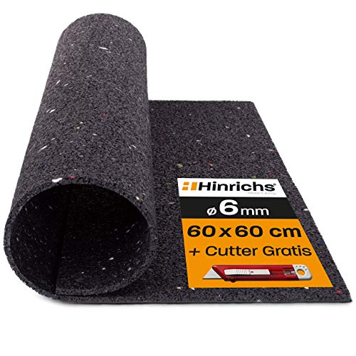 Hinrichs Antivibrationsmatte für Waschmaschinen - 60 x 60 cm Antirutschmatte Waschmaschine - Zuschneidbare Lärmschutzmatte als Waschmaschinenunterlage -...