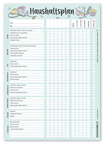KAWAI-KAMI Haushaltsplan Putzplan für Familien mit Kindern oder WG, Haushaltsplaner, Putzkalender, Frühlingsputz, Haushalt Organizer, DIN A4 Block, 90gr...