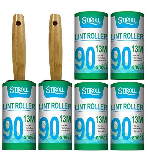 STIROLL Fusselrollen für Tierhaare, extra klebrig, Vorteilspack mit 2 Holzgriffrollen und 6 Nachfüllpackungen (90 Blatt pro Nachfüllung, insgesamt 540 Blatt)