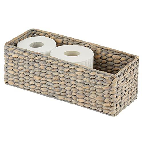 mDesign gefärbter Flechtkorb aus Wasserhyazinthe – stapelbarer Weidenkorb – ideale Aufbewahrung für das Badezimmer – grau