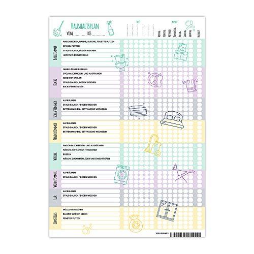 PlanMe Haushaltsplaner Putzplan mit Aufgabenverteilung -Planer DIN A4 - To Do Liste für den WG Haushalt - Aufgabenplaner für Familien mit Kindern -...