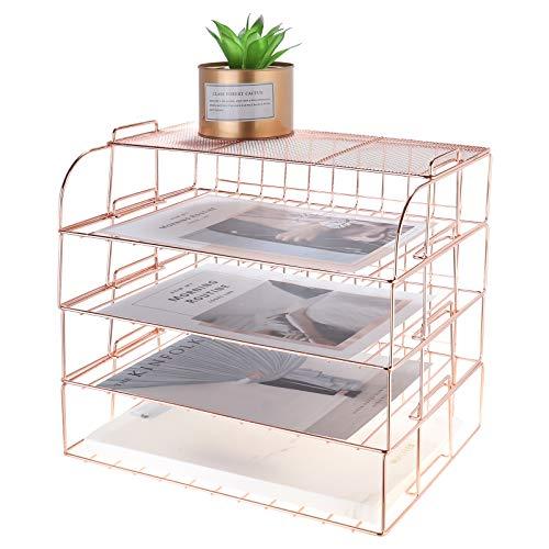 MORIGEM 4-Stück Schreibtisch Ordner Organizer, Stapelbares Dokumentenablage, Papierablage aus Metalldraht, Briefablage, Schreibtischablage Rosegold Organizer