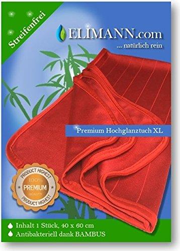 Elimann® Premium XL Hochglanz Reinigungstuch 60 x 40 cm extrem weich mit Bambus, waschbar, Reinigen ohne Chemie, perfekt geeignet für Küche, Glas, Spiegel,...